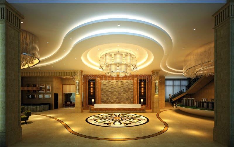 3d render of luxury hotel reception stock illustration