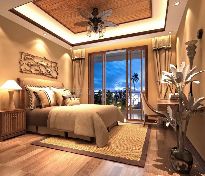 3d render of luxury hotel room royalty free illustration