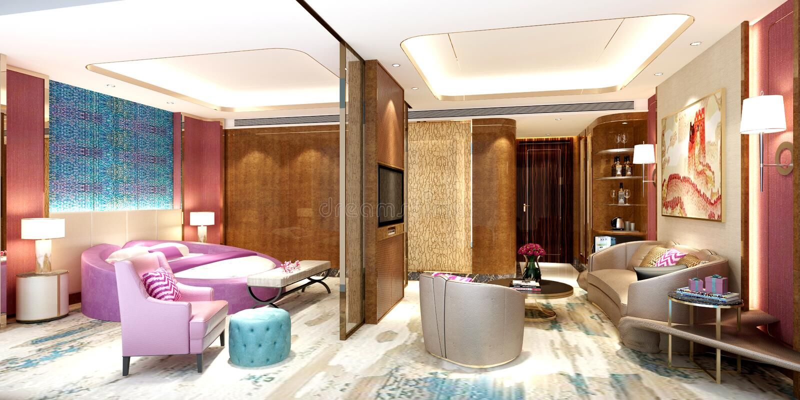 3d render of luxury hotel room vector illustration