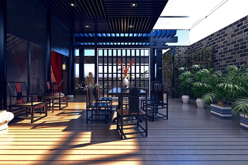 3d render of luxury house outdoor stock illustration