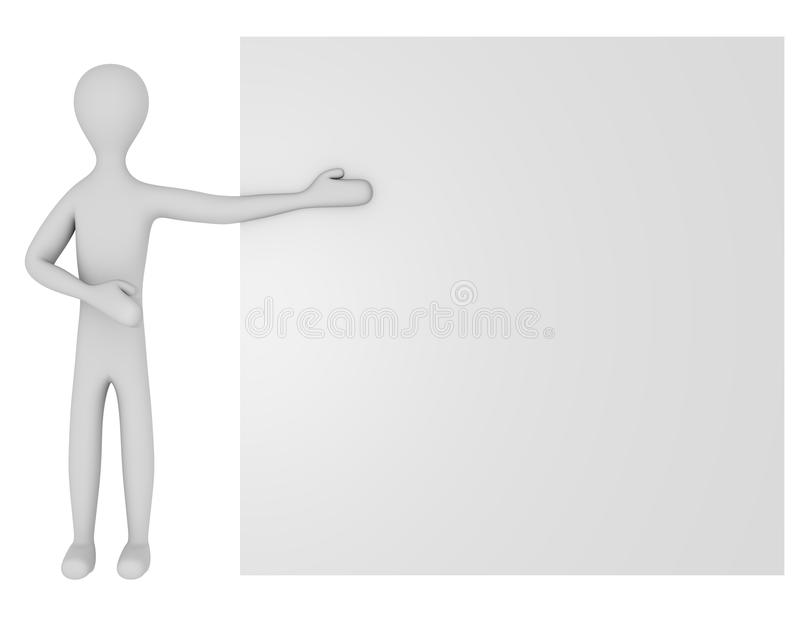3d Render of a Male Character with a Blank Sign stock illustration