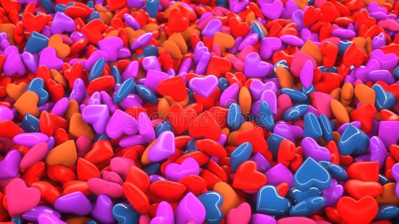 Many small colored hearts royalty free illustration