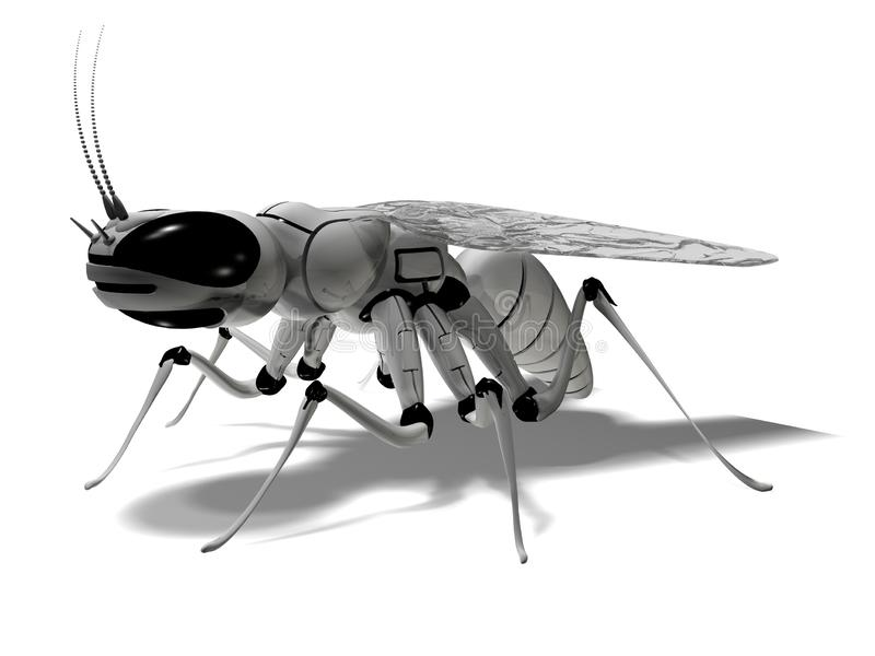 Robot. Insect robot. Cybernetics. 3d rendering mechanical fly vector illustration