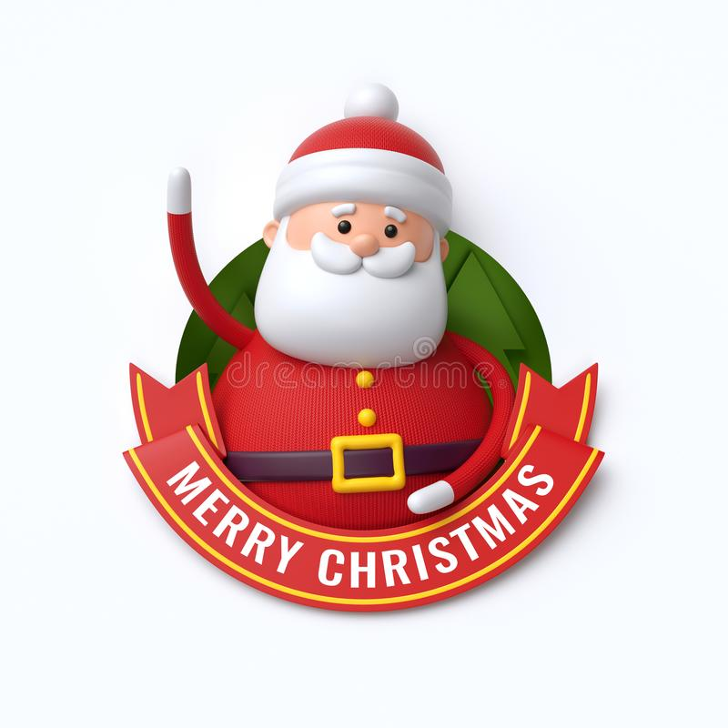 3d render, Merry Christmas text, cute Santa Claus, cartoon character, red ribbon, greeting card, banner, isolated on white vector illustration
