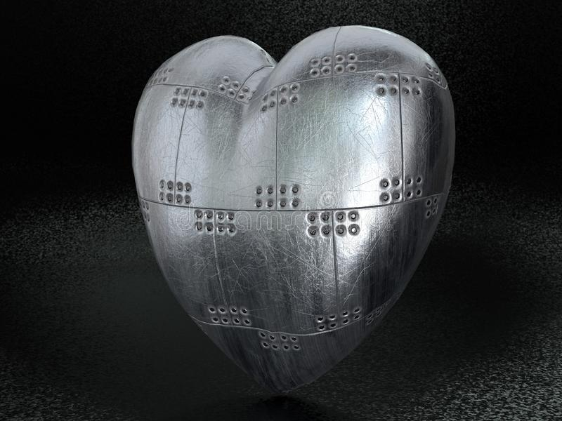 Metal armoured heart stock image