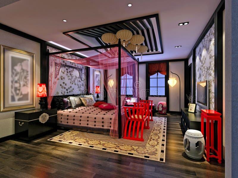 3d render of modern bedroom vector illustration