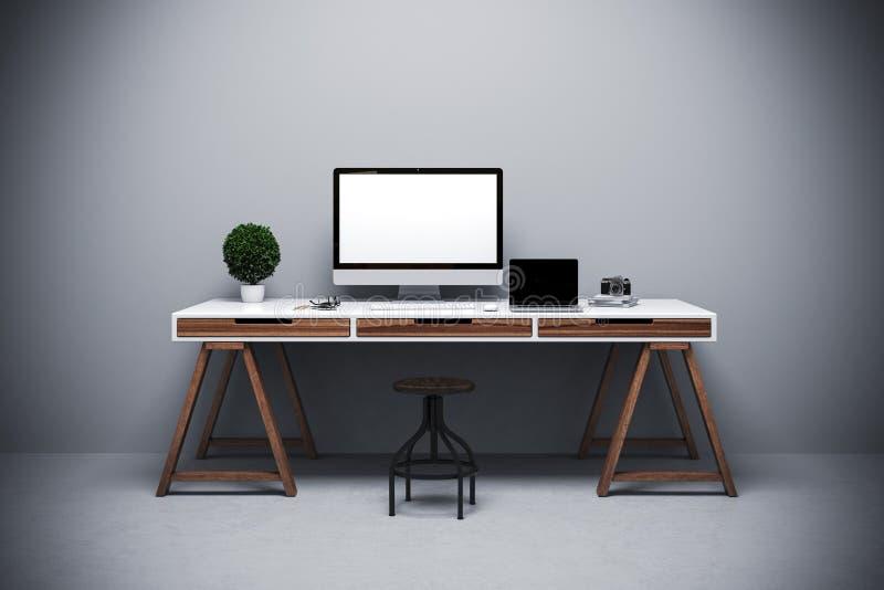 3d render of modern computer workplace setup. Modern office setting