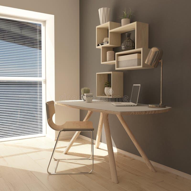 3D Render of a modern home office stock illustration