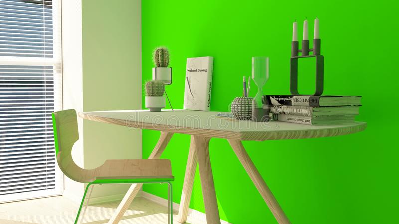 3D Render of a modern home office royalty free illustration