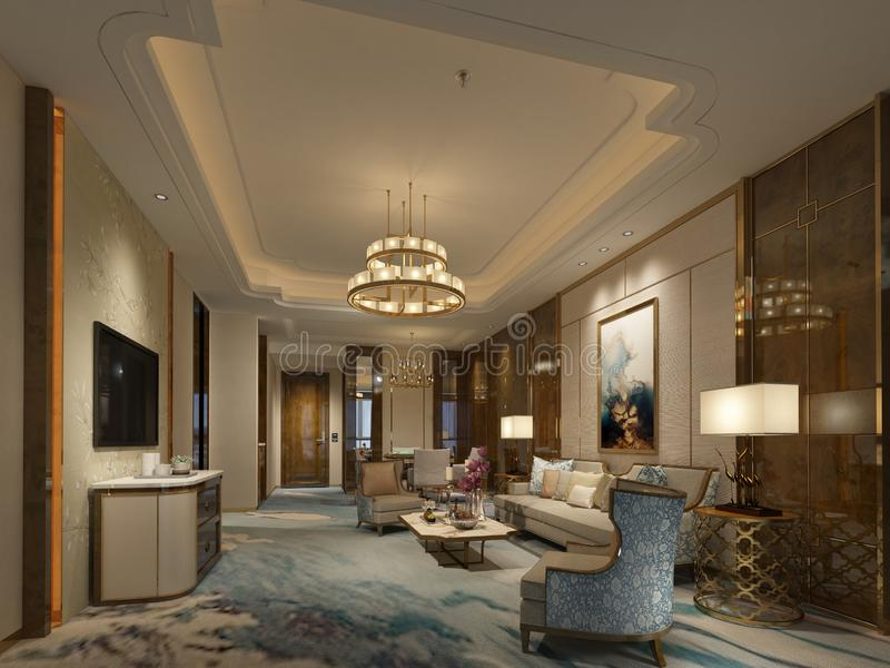3d render of modern hotel lobby royalty free illustration