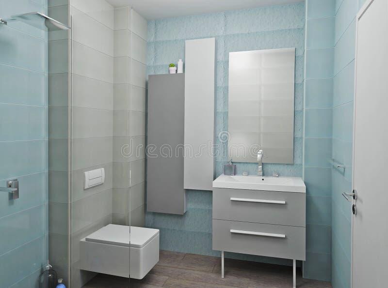 3D render modern interior of bathroom. Modern design interior of blue bathroom. 3D render royalty free stock photos