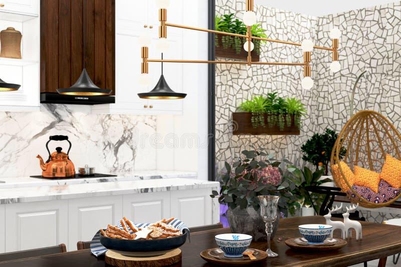 3d render of modern kitchen royalty free stock photos
