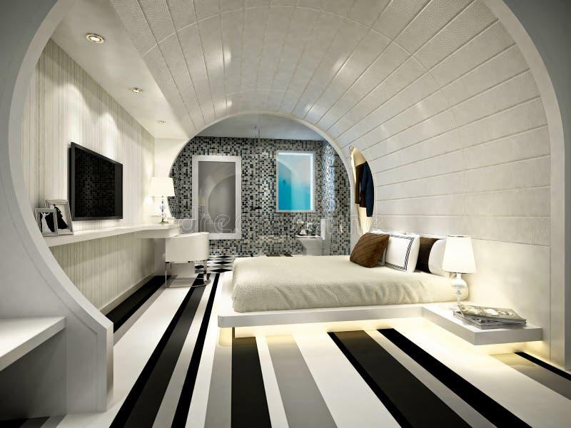 3d render of modern hotel room royalty free illustration