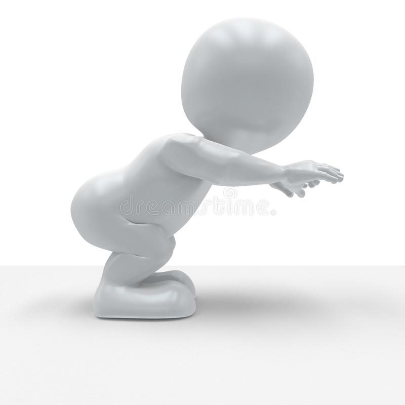 3D Morph Man in yoga pose. 3D Render of Morph Man in yoga pose vector illustration