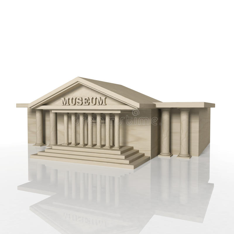 3D render of museum building with reflection