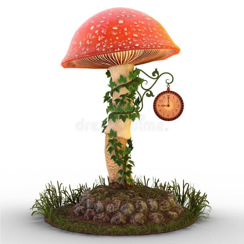 Mushroom with clock on ground. 3D render of a mushroom, ivy and fairy clock on patch of ground and grass illustration vector illustration