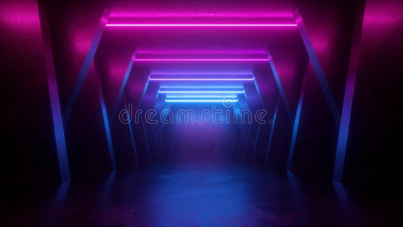 3d render, neon abstract background, empty room, tunnel, corridor, glowing lines, geometric, ultraviolet light royalty free illustration