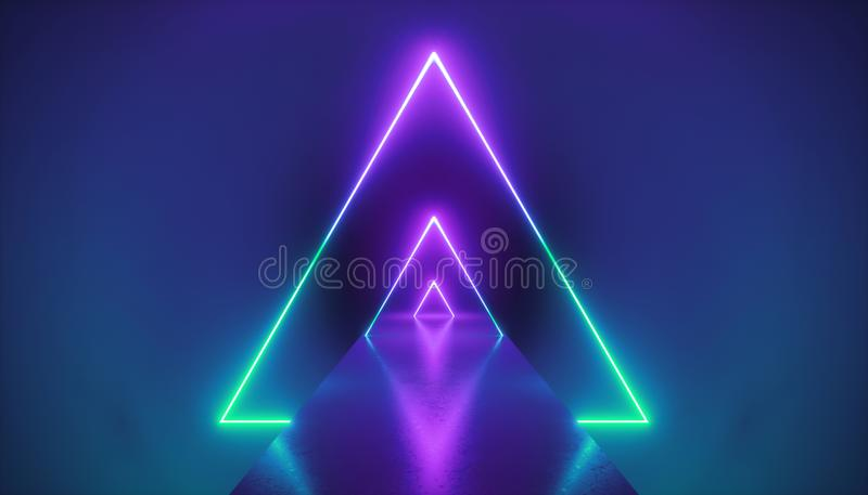 3d render, neon light triangle, virtual reality, triangular esoteric portal, tunnel, corridor, ultraviolet abstract background vector illustration