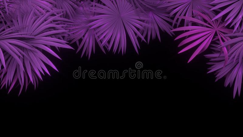 3d Render Of Neon Palm Leaves On Black Background Banner Design