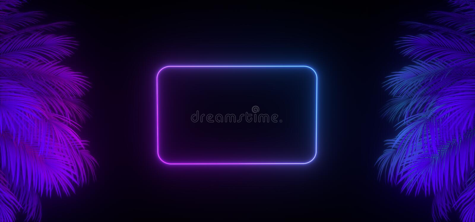 3d Render Of Neon Palm Leaves And Frame On The Black  Banner Design