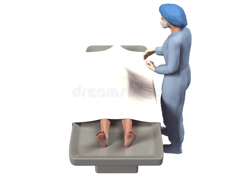 3d render of nurse and dead body in morgue royalty free illustration