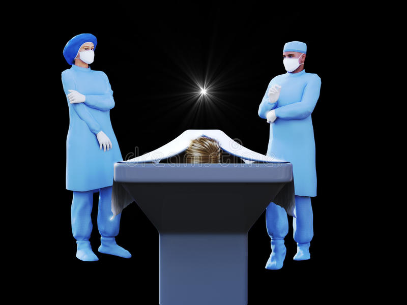 3d render of nurse, surgeon and dead body in morgue stock photography