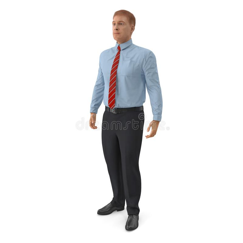 Office Worker Standing Pose 3D Illustration On White Background stock illustration