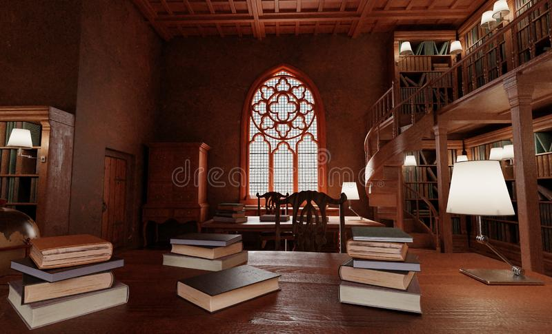 3D Render of Old Antique Library royalty free stock photography