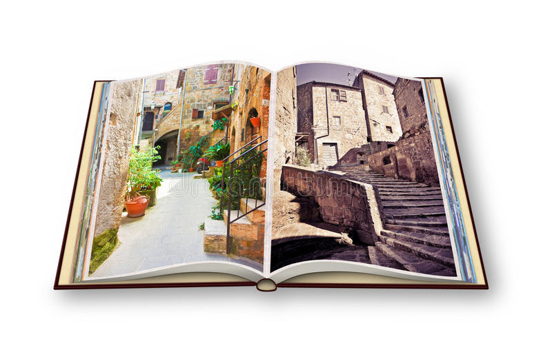 3D render of an opened photo book of Pitigliano Village, Italian stock illustration