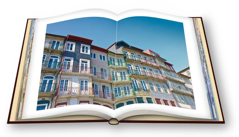 3D render of an opened photo book with Typical facades of Oporto houses Oporto stock photos