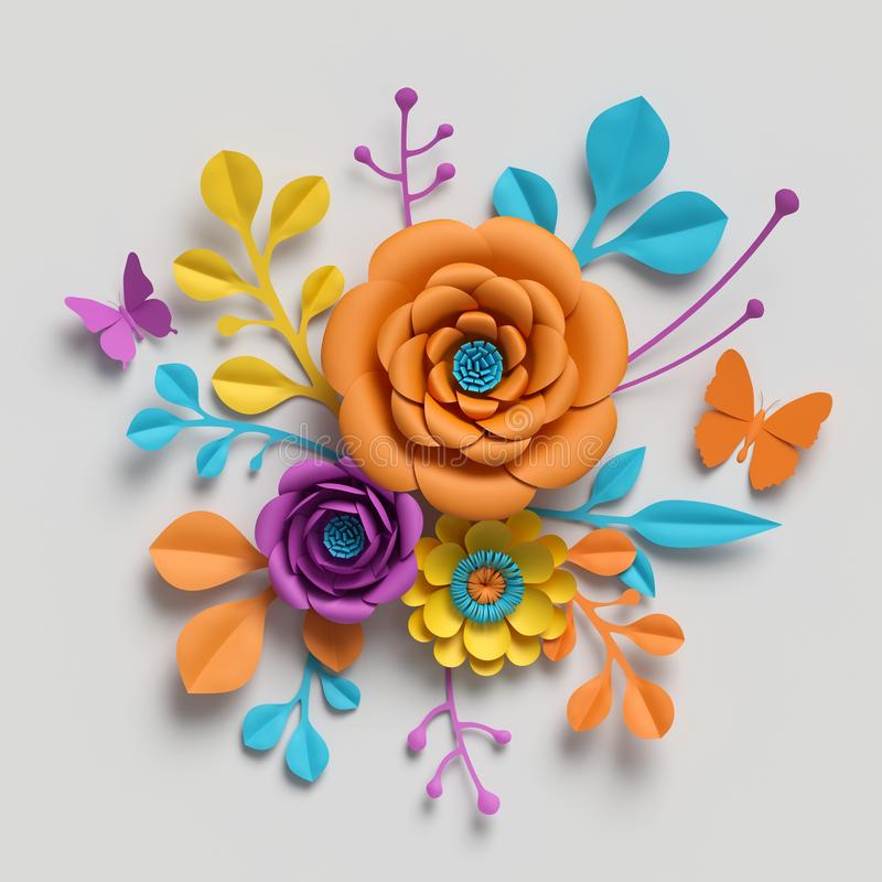3d render, paper flowers bouquet, botanical background, isolated clip art, round bouquet, floral arrangement royalty free stock image