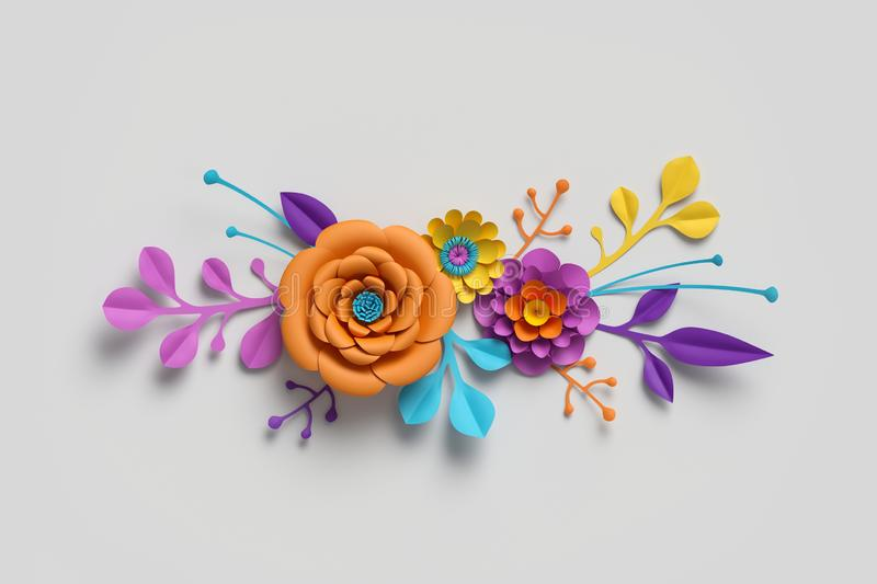 3d render, paper flowers, bright color palette, botanical background, isolated clip art, bouquet, floral border royalty free stock photography