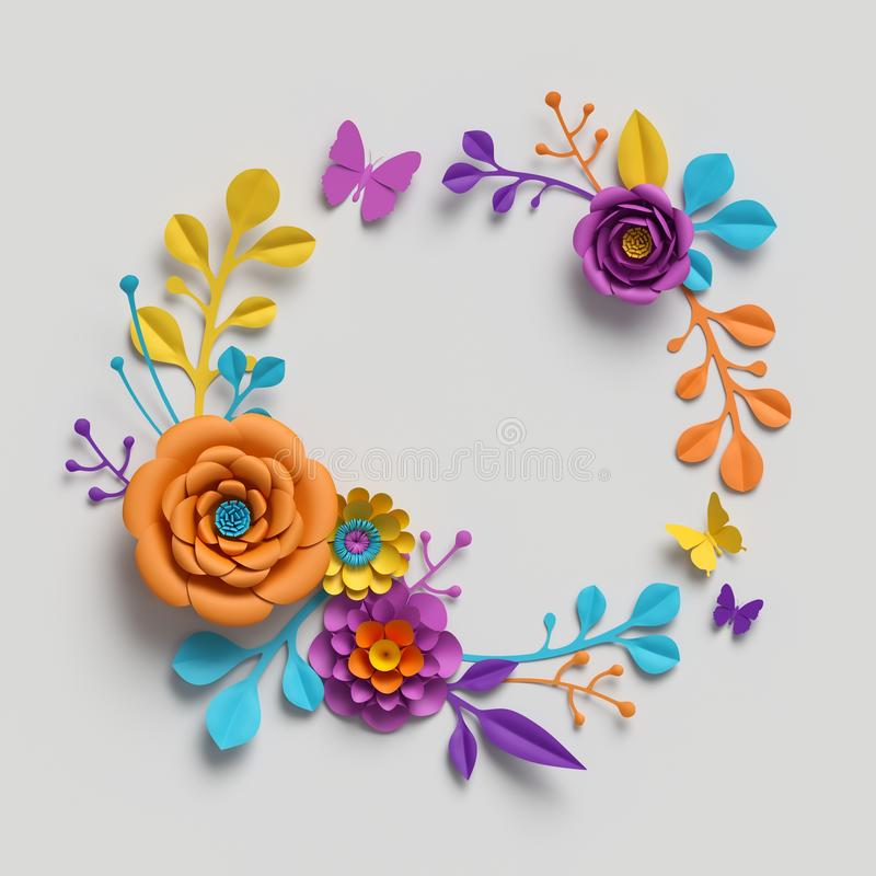 3d render, paper flowers round frame, botanical background, isolated clip art, round wreath, blank greeting vector illustration