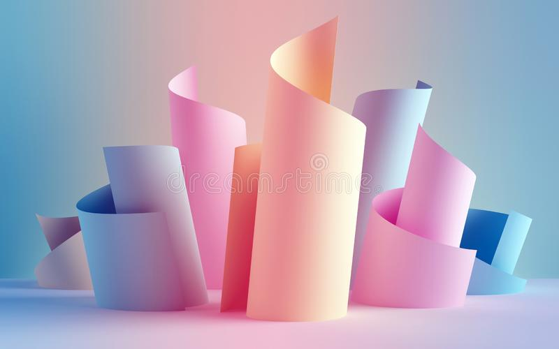 3d render, paper ribbon rolls, abstract shapes, fashion background, swirl, pastel neon scrolls, curl, spiral, cylinder. 3d render of paper ribbon rolls, abstract stock illustration