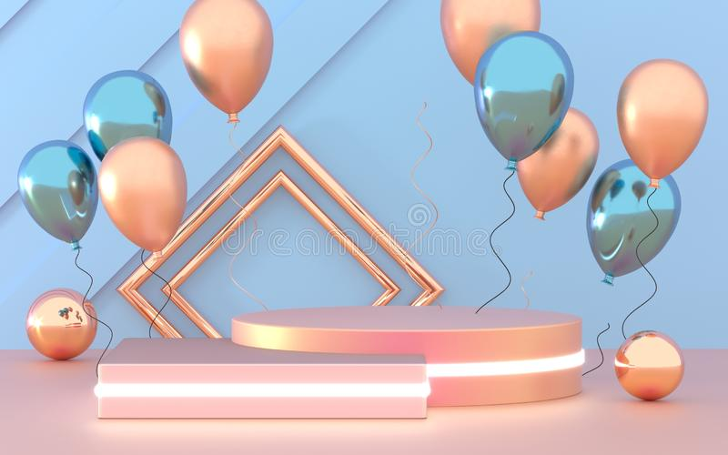 3d render of party design composition. Abstact 3d geometric shapes backdrop for holiday concept. 3d pink background with vector illustration