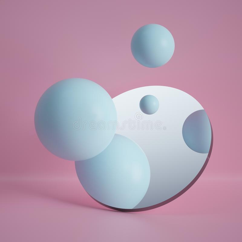 3d render, pastel blue balls reflecting in round mirror isolated on pink background, abstract concept royalty free illustration