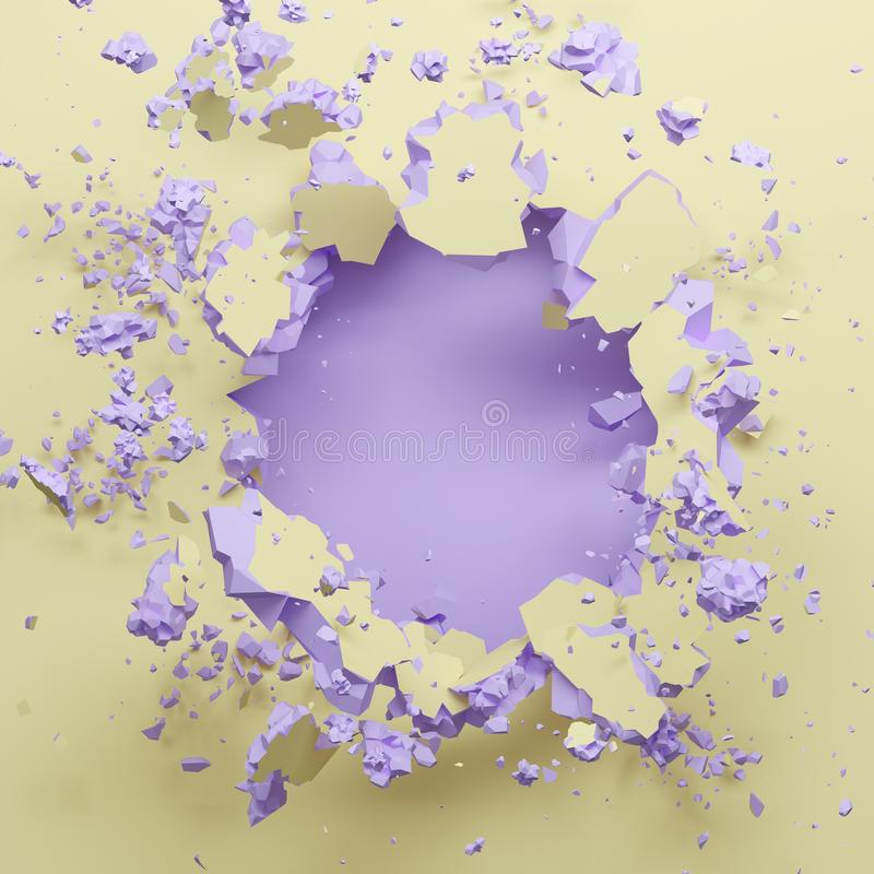 3d render, pastel yellow violet broken wall, abstract fashion background, blank space for text, explosion, bullet hole stock illustration