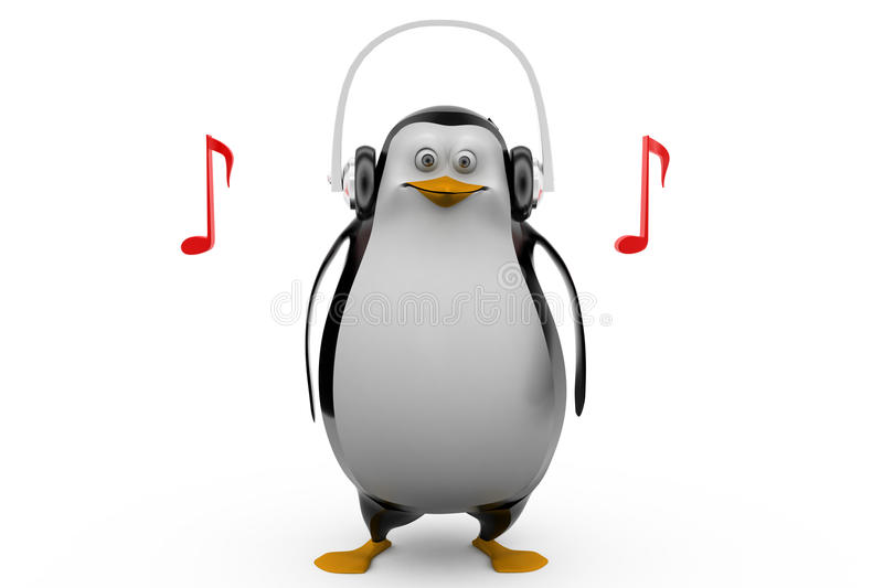 3d Render Of A Penguin In Glasses Listening To Tunes On His Headphones Stock Illustration