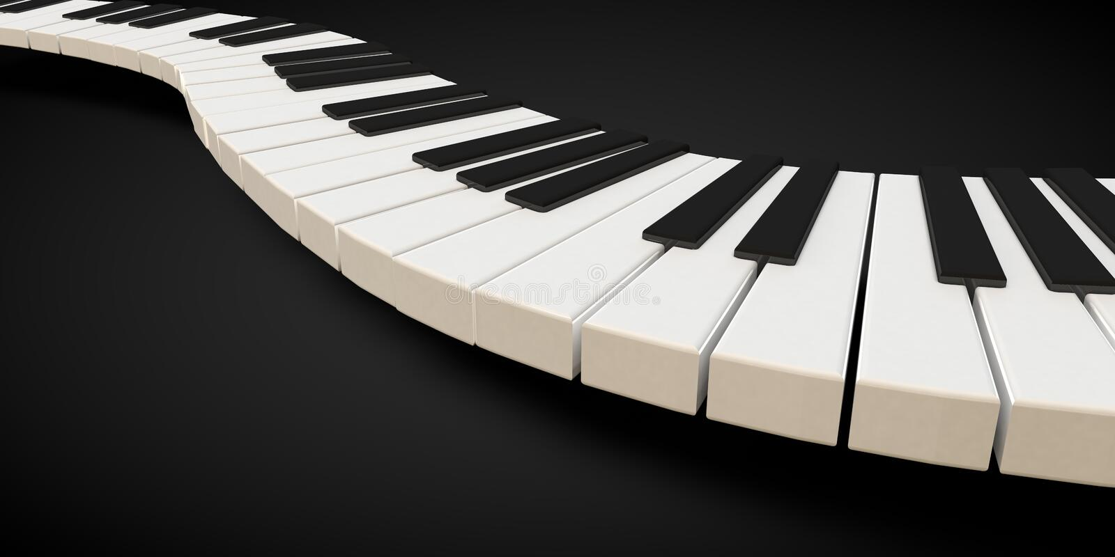 Download 3d Render Of A Piano Keyboard In A Fluid Wavelike Movement Stock Illustration - Illustration: 89146549