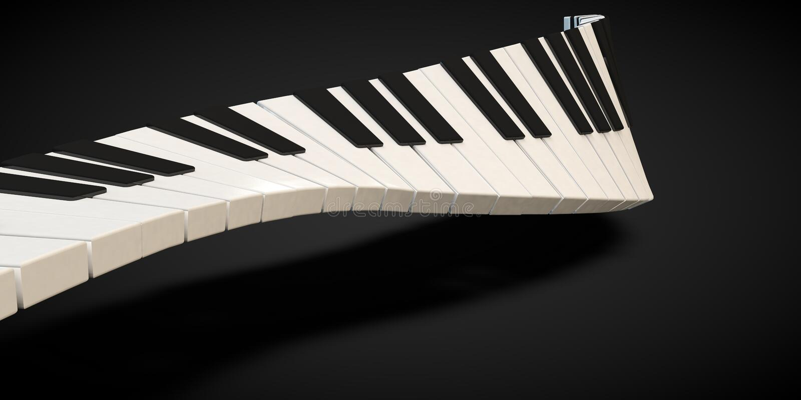 Download 3d Render Of A Piano Keyboard In A Fluid Wavelike Movement Stock Illustration - Illustration: 89298335