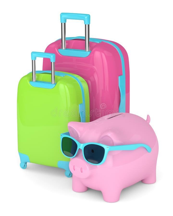 3d render of piggy bank with suitcases over white vector illustration