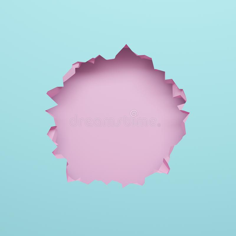 3d render, pink blue broken wall, abstract pastel background, blank space for text, bullet hole, destruction royalty free illustration