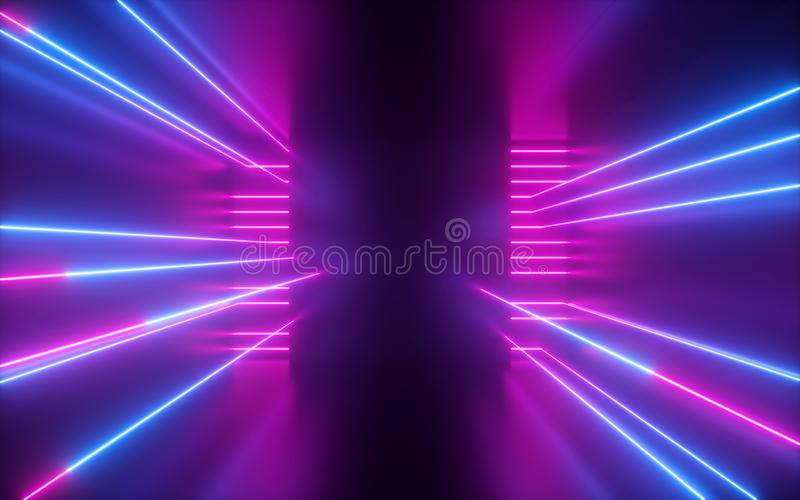 3d render, pink blue neon lines, geometric shapes, virtual space, empty room, ultraviolet light, 80`s style, retro disco, fashion. 3d render of pink blue neon royalty free stock photo