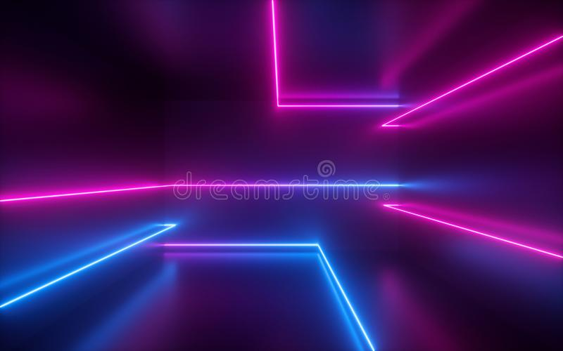 3d render, pink blue neon lines, geometric shapes, virtual space, ultraviolet light, 80`s style, retro disco, fashion laser show. 3d render of pink blue neon stock photography