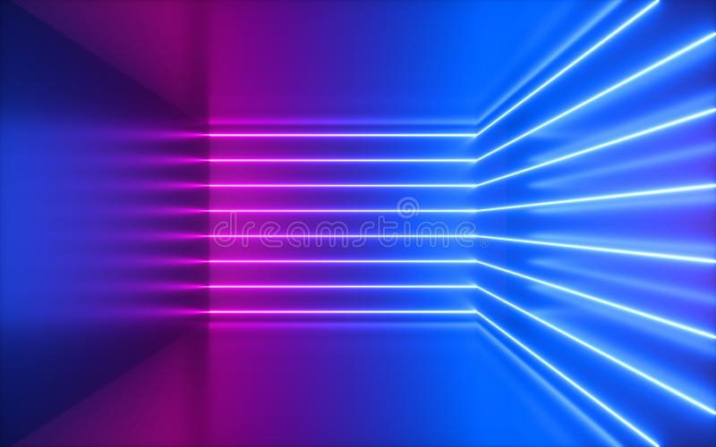 3d render, pink neon lines, corner inside empty room, virtual space, ultraviolet light, 80`s style, retro disco club interior, royalty free stock photos