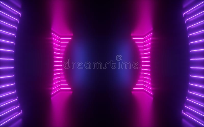 3d render, pink neon lines, round shape inside empty room, virtual space, ultraviolet light, 80`s style, retro disco club interio. 3d render of pink neon lines royalty free stock photo
