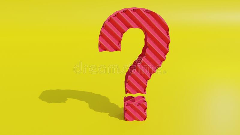 3d render Ask question mark on yellow isolated. 3d render pink  question mark on yellow isolated. Smart Question ask royalty free illustration