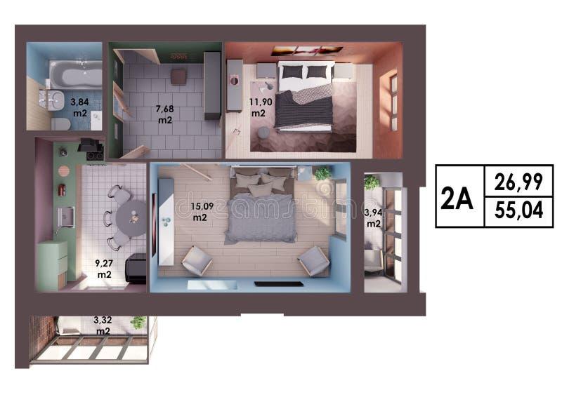 Download 3d Render Plan / Layout Of A Modern Two Bedroom Apartment Stock  Illustration   Illustration