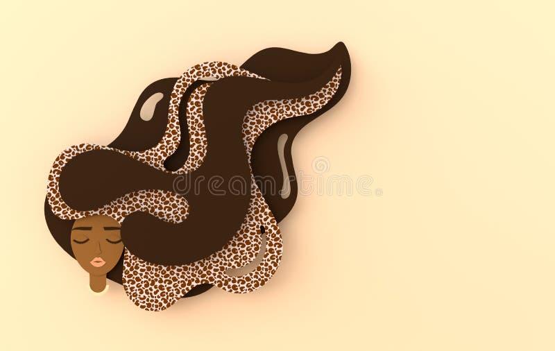 3d render portrait of young beautiful black woman with long  hair, jaguar cat print. Modern digital paper layered art. Origami royalty free illustration