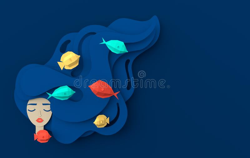 3d render portrait of young beautiful woman mermaid with long wavy hair. Paper underwater sea life with fishes, waves. Paper cut vector illustration